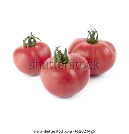 Stalk with red ripe tomatoes on a pink background with patterns from the shadows and copy space. Hea Stock photo © artjazz