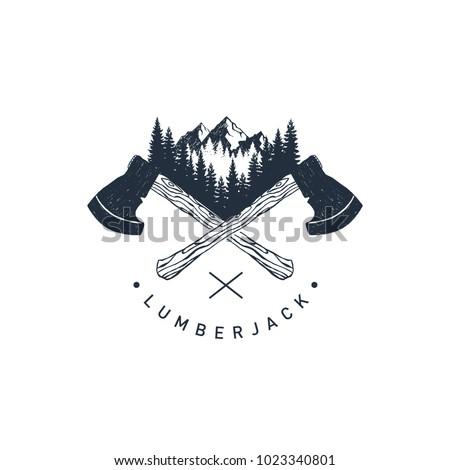 vintage hand drawn camp axe symbol silhouette lumberjack equipment icon design stock vector illust stock photo © jeksongraphics
