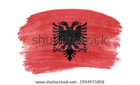Dibujado a mano bandera Albania aislado blanco vector Foto stock © garumna