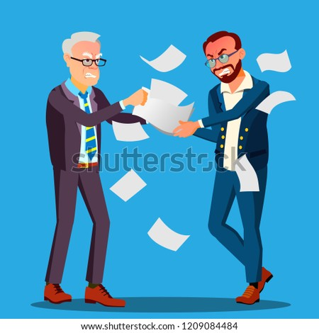 Two Businessmen Are Pulling Out A Contract From Hands Each Other Vector. Isolated Illustration Stock photo © pikepicture