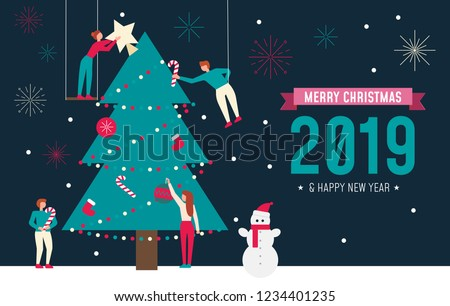 Christmas concept for people teamwork, blue background with group of smiley snowman emoticon with Sa Stock photo © ikopylov