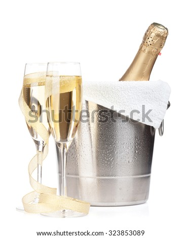 Two champagne glass and bottle of champagne in ice bucket icon in flat style. Stock photo © MarySan