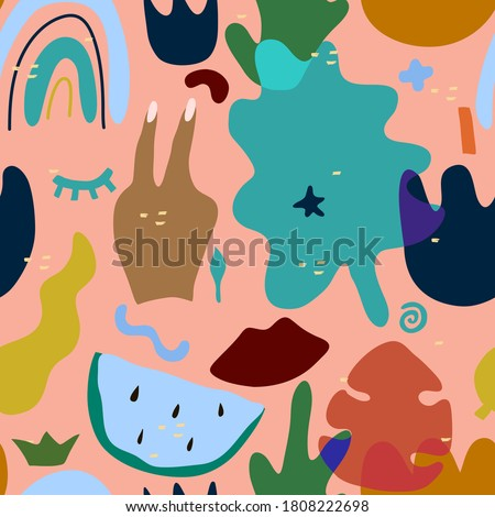 Vector abstract hand drawn flowers with different textures. Floral composition. Freehand style Stock photo © user_10144511