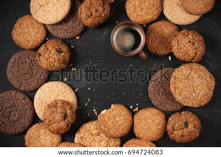 Haver cookies chocolade chip biscuit houten Stockfoto © EvgenyBashta