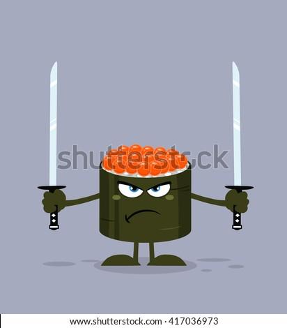 Enojado sushi rodar mascota de la historieta carácter listo Foto stock © hittoon