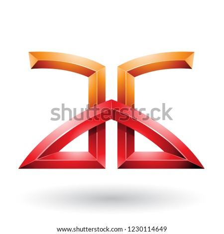 Orange and Red Bridged Embossed Letters of A and G Vector Illust Stock photo © cidepix