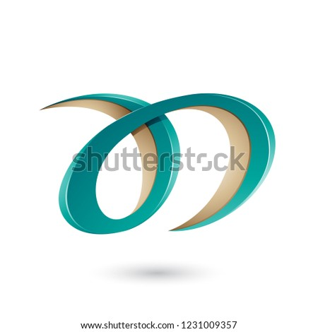 Persian Green and Beige Curvy Letter A and D Vector Illustration Stock photo © cidepix
