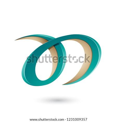 Vert beige lettre d vecteur illustration isolé Photo stock © cidepix