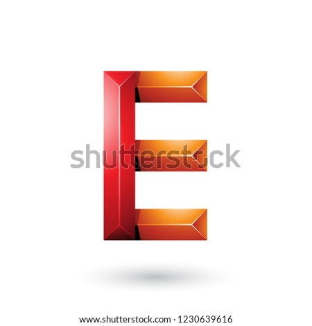red and orange pyramid like geometrical letter e vector illustra stock photo © cidepix