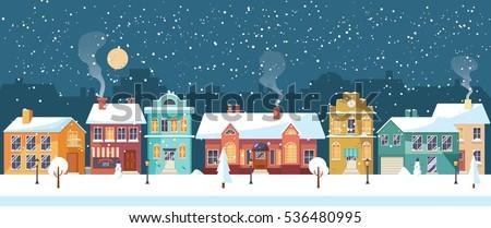 Kış köy manzara örnek Noel tebrik kartı Stok fotoğraf © IvanDubovik
