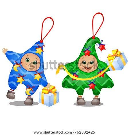 Carnival costumes for children. Set of soft funny Christmas decorations in the shape of star and Chr Stock photo © Lady-Luck