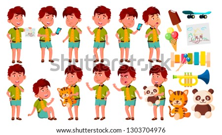 boy kindergarten kid poses set vector preschool young positive person undressed summer vacation stock photo © pikepicture