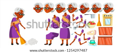 Indian Old Woman Vector. Hindu. Asian. Senior Person Portrait. Sari. Elderly People. Aged. Animation Stock photo © pikepicture