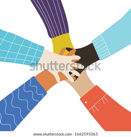 Partnership Vector. Two Business Woman Holding In Hands Two Large Puzzles And Put It Together. Illus Stock photo © pikepicture
