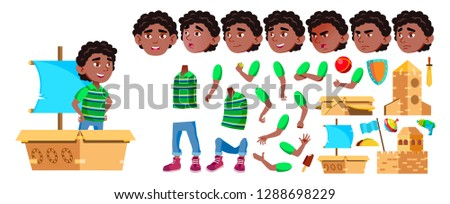 black afro american boy kindergarten kid vector animation creation set face emotions gestures f stock photo © pikepicture