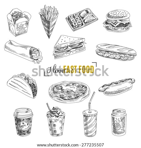 Sketch of fast food. French fries, hot dog, drink isolated on white background. Stock photo © Arkadivna