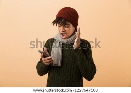 Ritratto positivo teen ragazzo indossare Hat Foto d'archivio © deandrobot