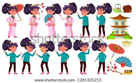 Asiático menina criança conjunto vetor quimono Foto stock © pikepicture
