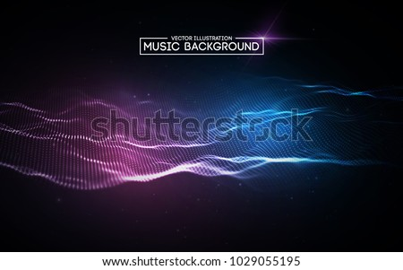 Music Background Vector. Tech, Futuristic. Signal Grid. 3D Illustration Stock photo © pikepicture