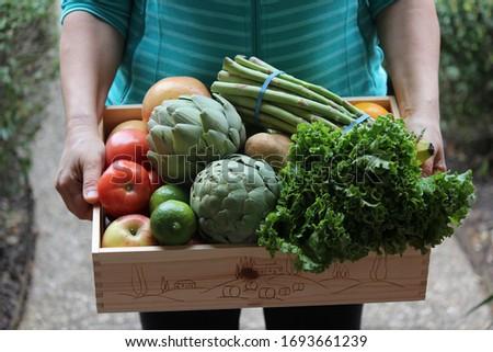 nő · elad · organikus · zöldségek · piac · napos · idő - stock fotó © kzenon