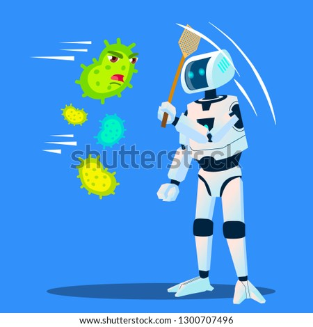 robot drives away bacteria flying around vector isolated illustration stock photo © pikepicture