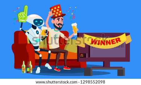 Robot Football Fan. Hat, Beer, Tv Screen With Friend Vector. Isolated Illustration Stock photo © pikepicture