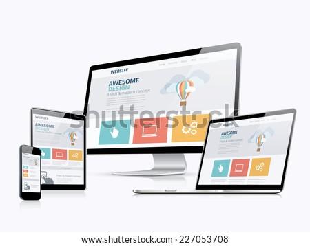 Web design flat concept icons Stock photo © netkov1