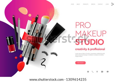 web page design template for makeup studio course natural products cosmetics body care modern d stock photo © ikopylov