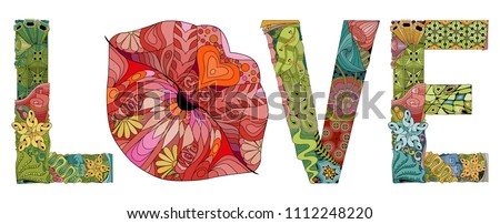 Stock photo: Word LOVE with lips silhouette. Vector decorative zentangle object. Color and outline set.