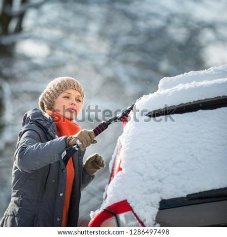 довольно · очистки · автомобилей · снега - Сток-фото © lightpoet