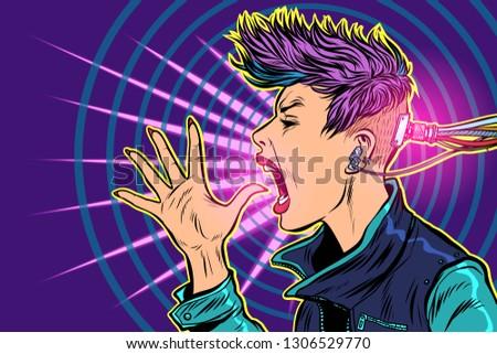 Internet verslaving gadgets 80s meisje vrouw Stockfoto © studiostoks