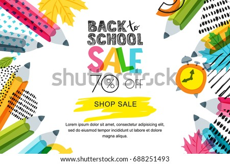 Stock photo: Sale banner or flyer with multicolor lettering and memphis style