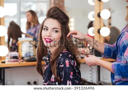 Fodrász vág ügyfelek haj szépségszalon szépség Stock fotó © dashapetrenko