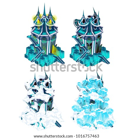 The stage of destruction fantasy castle isolated on white background. Vector cartoon close-up illust Stock photo © Lady-Luck