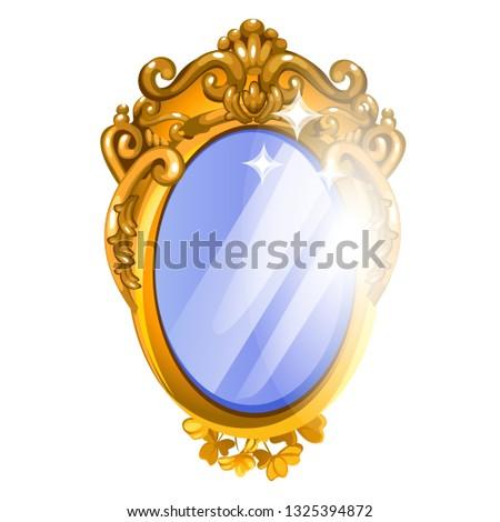 Vintage spiegel gouden frame geïsoleerd Stockfoto © Lady-Luck