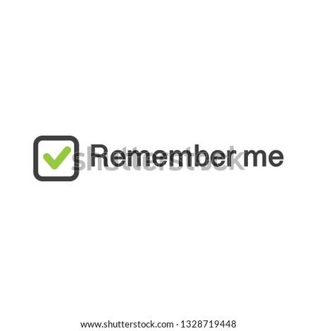 illustration of check mark icon in square with remember me sign web authorization vector illustrati stock photo © kyryloff