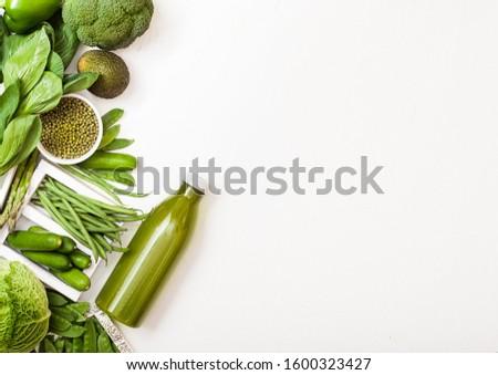 Stock fotó: Zöld · nyers · organikus · zöldségek · fehér · kő