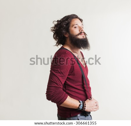 cool young guy in leather jacket adjusting his jacket's collar  Stock photo © feedough