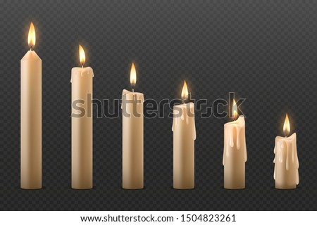 Candles Set Vector. Cake. Fire Light. Lit Wick. Glow Cake. Transparent Background. Isolated Realisti Stock photo © pikepicture