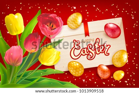 easter sale illustration with red painted egg on yellow background vector holiday design template f stock photo © articular