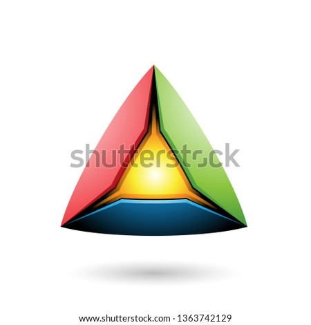 Blue Red and Green Pyramid with a Glowing Core Vector Illustrati Stock photo © cidepix