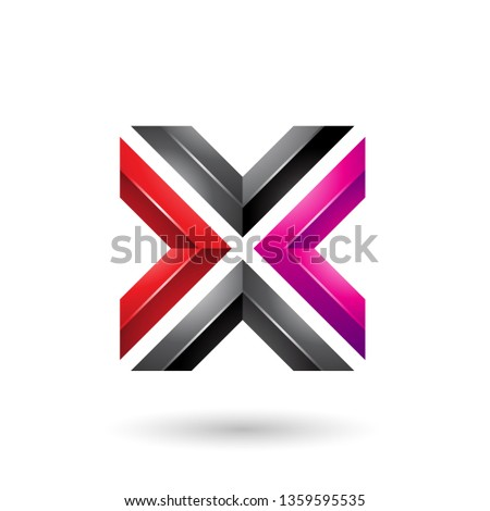 Red Magenta and Black Square Shaped Letter X Vector Illustration Stock photo © cidepix