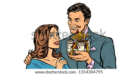 businessman and businesswoman medieval castle property for sale stock photo © studiostoks