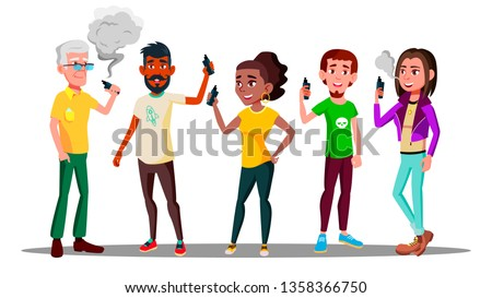 Vape People Vector. Person With Vaporizer Vaping Together. Hipster Addiction. Cloud. Illustration Stock photo © pikepicture