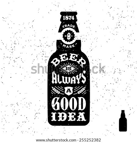 Beer Bottle Vector. Alcohol Label. Bar Flyer Element. Vintage Beverage. Yellow. 3D Transparent Isola Stock photo © pikepicture