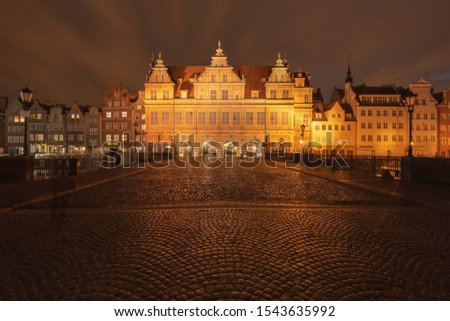 evening streets of old Gdansk, bridge over the main river, central tourist street Stock photo © ruslanshramko