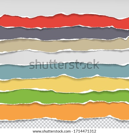 Horizontal torn paper edge. Ripped squared horizontal red paper strips. Vector illustration Stock photo © olehsvetiukha