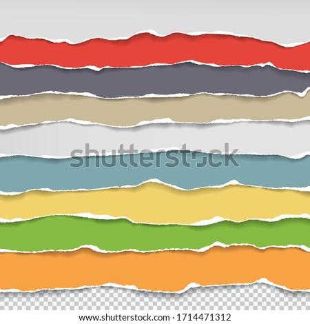 Horizontal torn paper edge. Ripped squared horizontal red paper strips. Vector illustration Stock photo © olehsvetiukha