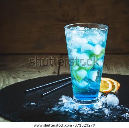 синий коктейли лимона соломы белый Сток-фото © dla4