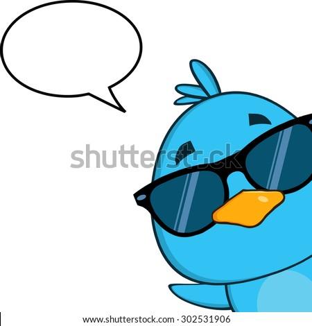 Aranyos kék madár napszemüveg rajzfilmfigura néz Stock fotó © hittoon